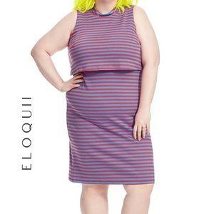 {Eloquii} blue and red striped sheath dress plus